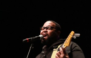The Hamiltones' Tony Lelo performs during a tribute to Aretha Franklin at Delta College. Photo by Eva Martinez