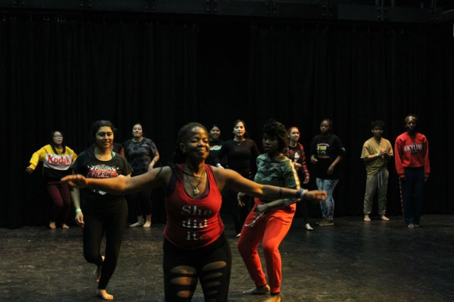 Nicole Manker leads intermediate participants in an African Caribbean dance in the Al Muller Studio Theater on Nov. 2 at Delta College. Photo by Maria Abugarade Rayo
