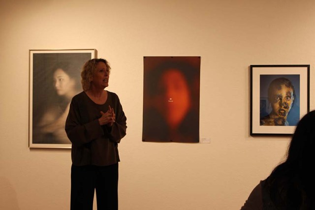 Gallery Director Jan Marlese speaks at the Contemporary Portraiture exhibit at Horton Art Gallery at Delta. Photo by Ayaana Williams