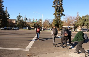 Delta College students head towards campus on Pacific Avenue on Feb. 4. Photo by Vivienne Aguilar