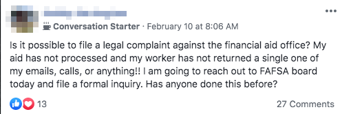 A student threatened to file a complaint against Delta College over financial aid difficulties. Screenshot from Facebook.