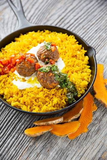 recipe photo of Lamb and Sweet Potato Meatballs with Mint Gremolata and Persian Cucumbers Tzatziki over Tumeric-Scented Rice