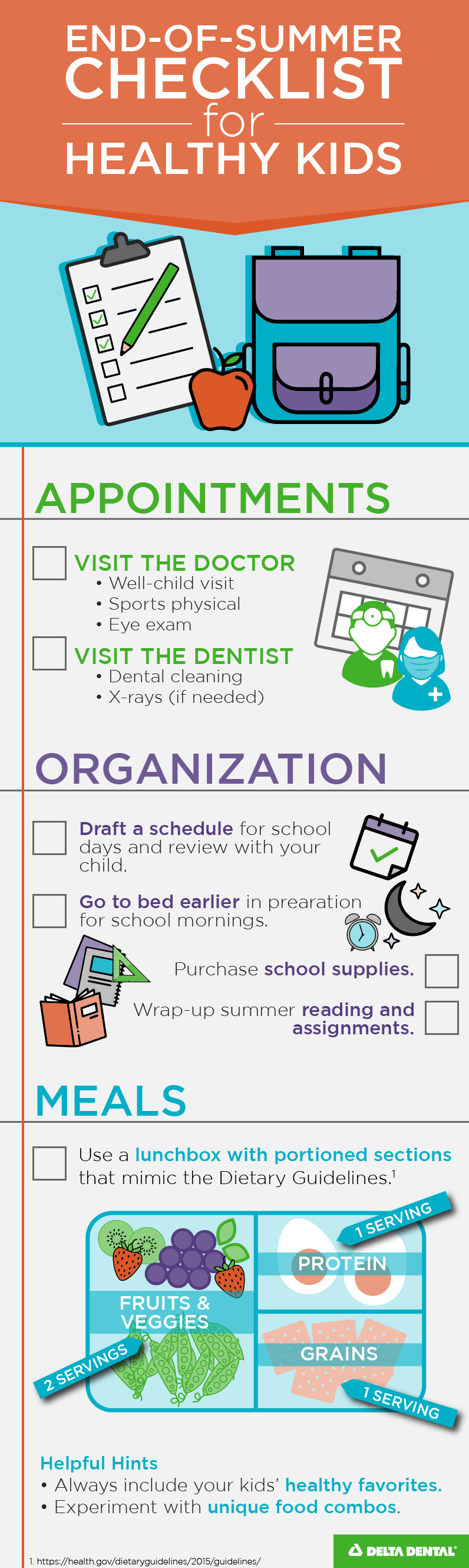 End of summer checklist for healthy kids