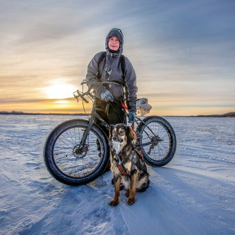 Extreme Biking Ben Kuntz of Bethel and his faithful dog Ruby were out on a fat biking excursion on the frozen Kuskokwim River last Sunday. The big tires of the Surly fat bike make it fun to ride on extreme terrain, such as the snow-covered river.