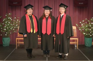 Associate of Applied Science Degree recipients. From left are Magdalena M. Myers, Vivian Peters, and Lucy Ciquyaq Lupie. Photos by Dean Swope