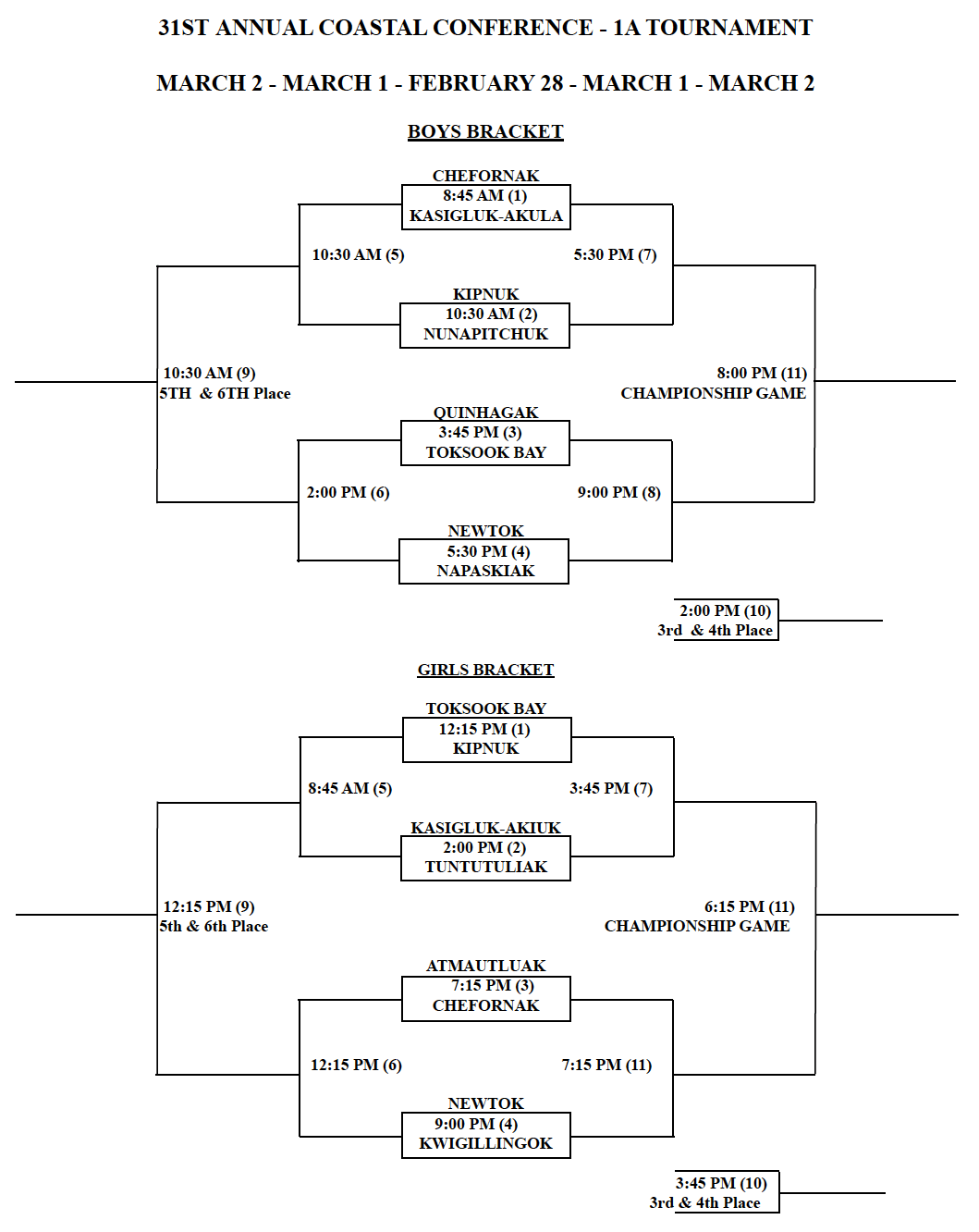 31st coastal conference schedule