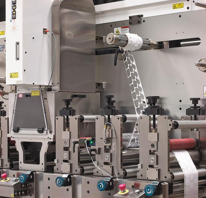 image of laser die cutting converter with waste matrix rewind
