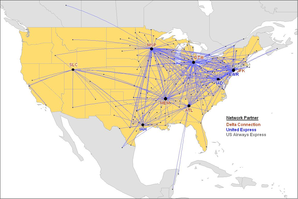 Us Airways Route Map - Delta route maps