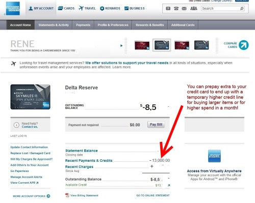 delta points tips for amex spend low credit line