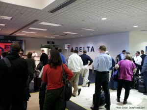 packed boarding area delta airline delta points blog