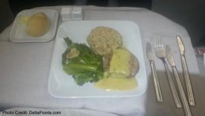 steak dinner business class 767-300 atlanta to europe delta points blog