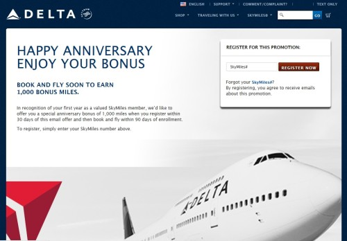 1000 target anniversay points from delta
