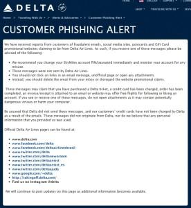 Delta Phishing Alert