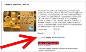 cost to redeem skymiles for a amex gift card