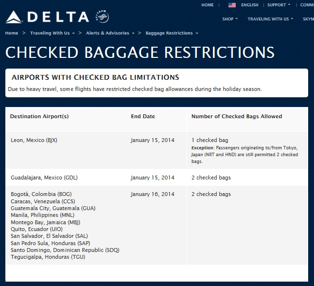 Weather, Airport delays & Delta Checked Baggage ...
