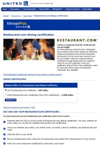 spend miles on restaurant-com certs