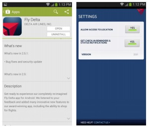 Delta FLY app for Android 2-5-1 bug fix - sorta