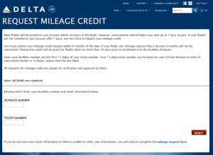 request mileage credit delta-com for missing points