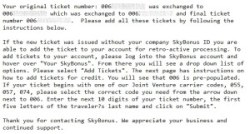 email instructions for adding a missing skybonus ticket