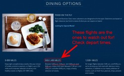 1st class dining times and options on delta flights