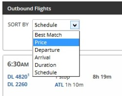 change delta-com choice to price over schedule