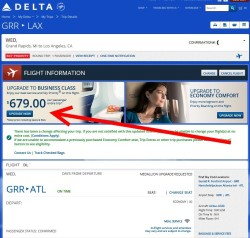 changes to delta-com trips display on delta-com plus selling upgrades
