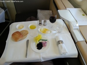 Caviar service Lufthansa 1st class 747-8 Delta Points blog (2)