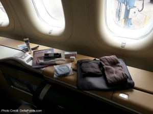 amenity kit 1st class lufthansa 747-8 delta points blog