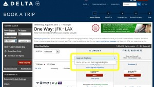 delta-com says you can not upgrade from jfk-lax 7july2014