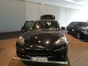 porche ride to airplane FRA airport delta points blog