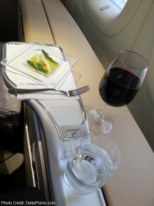 pre-appetizer lufthansa 747-8 1st class delta points blog