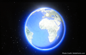 Lufthansa 1st class munich to Toronto A330 DeltaPoints blog review world map