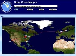 18k delta mileage run from great circle mapper