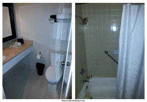 Sheraton Gateway Los Angeles Airport hotel club floor room bathroom delta points blog