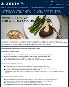 delta intercontinental business elite meals month by month