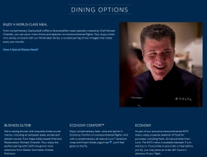 delta trans con dining 1st class choices