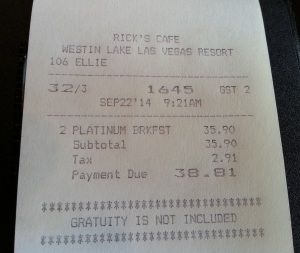 breakfast bill that was FREE due to SPG Platinum status Westin Lake Las Vegas Delta Points blog