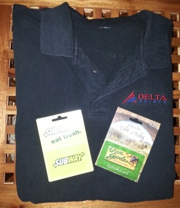 gift cards and delta points polo shirt