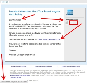 phishing email looks like amex