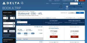 cdg to atl points rt