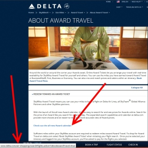 delta all new award calendar link takes you to booking a ticket