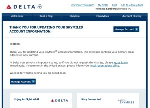 delta warning about change of email