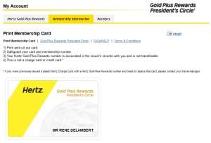 my upgraded hertz account