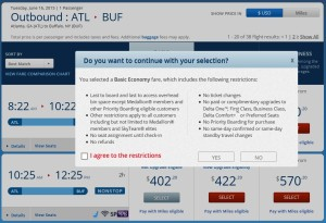 warnings about delta basic fare class