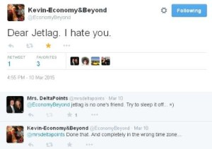kevin hates jet lag and me too as well as mrs delta points