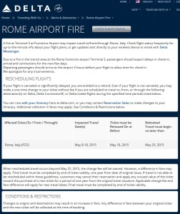 rome airport fire free delta changes
