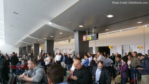 big crowd at gate in SEA on a delta mileage run delta points blog