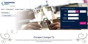 escape lounge t3 manchester airport web page