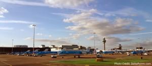 lots of KLM reginal jets parked at AMS airport Delta Points blog