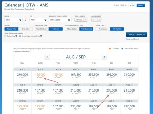 this aug dtw to ams 2 people biz